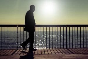 Lone man walking
